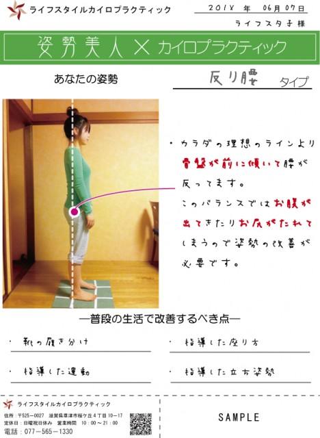 滋賀県草津市の整体ライフスタイルカイロプラクティック姿勢カード